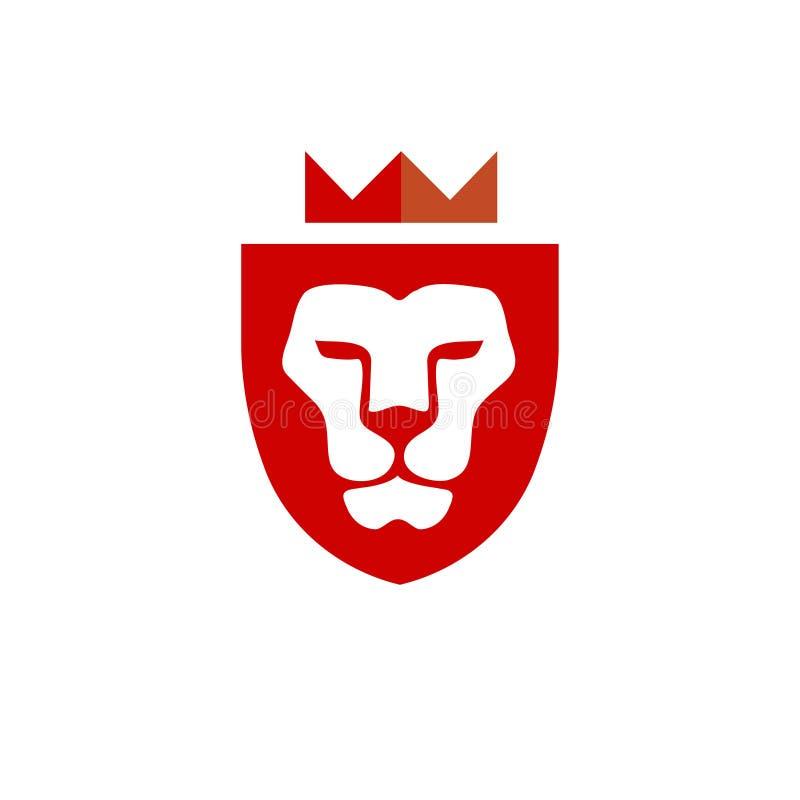Lejonhuvud med krona- och sköldvektorn royaltyfri illustrationer