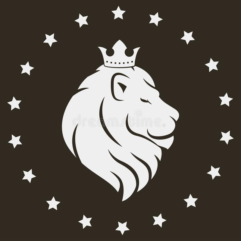 Lejonhuvud med kronan vektor illustrationer