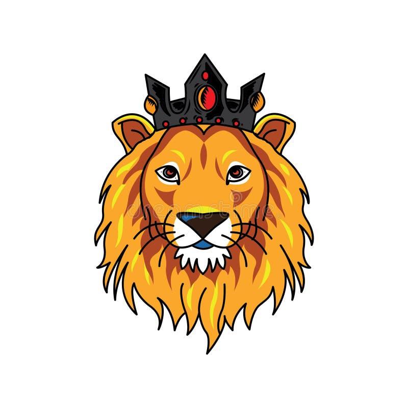 Lejonhuvuds bärande krona för logo stock illustrationer