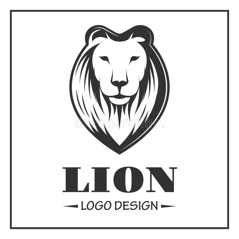 Lejonlogo i monokrom stil på vit bakgrund vektor illustrationer
