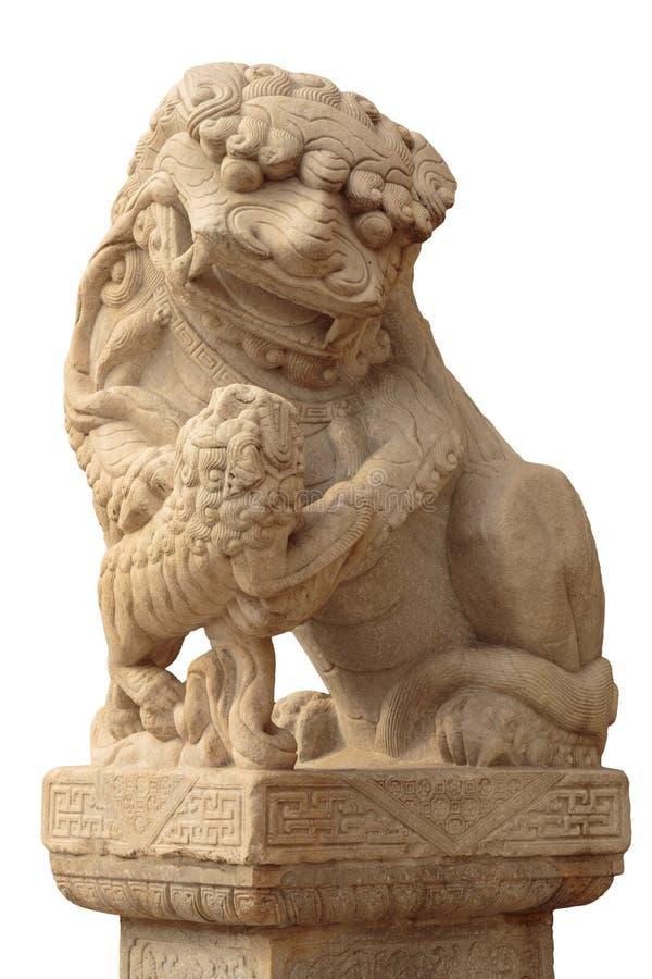 Lejonmarmorframsida, kinesiskt lejon, sten som snider skulptur, symbolet av makt, vid kinesiskt Sten Lion Sculpture arkivfoton