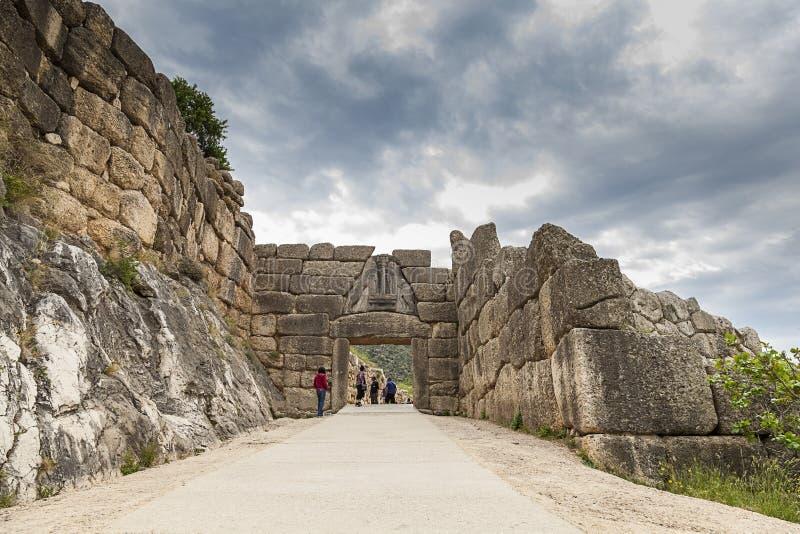 Lejonporten i Mycenae, Grekland arkivbilder