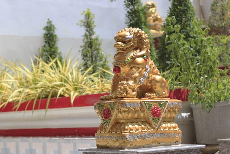 Lejonstatyuppsättning i templet royaltyfri foto