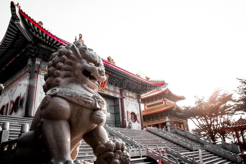 Lejonstenstaty på den kinesiska templet i Thailand arkivbilder