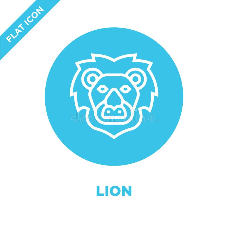 lejonsymbolsvektor från djur huvudsamling Tunn linje illustration för vektor för lejonöversiktssymbol Linjärt symbol för bruk på  vektor illustrationer