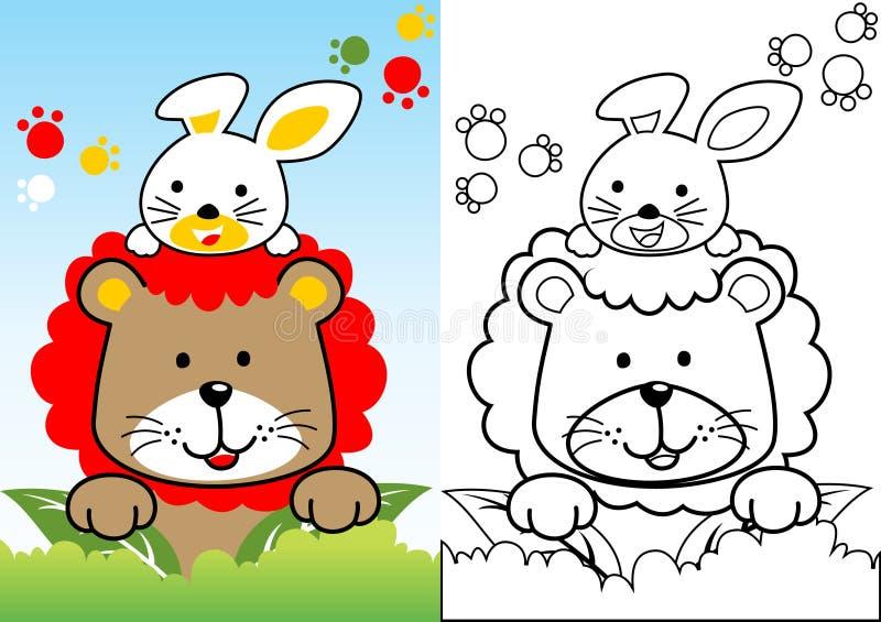Lejontecknad film med den vita kaninen vektor illustrationer