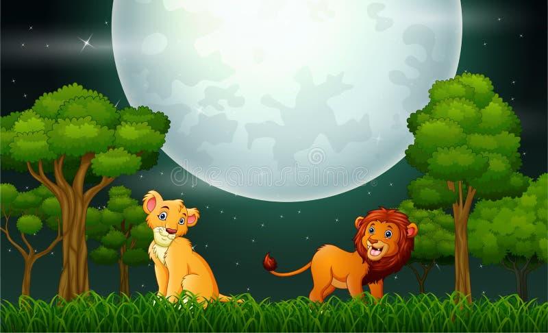 Lejontecknad film som vrålar på naturlandskapet vektor illustrationer