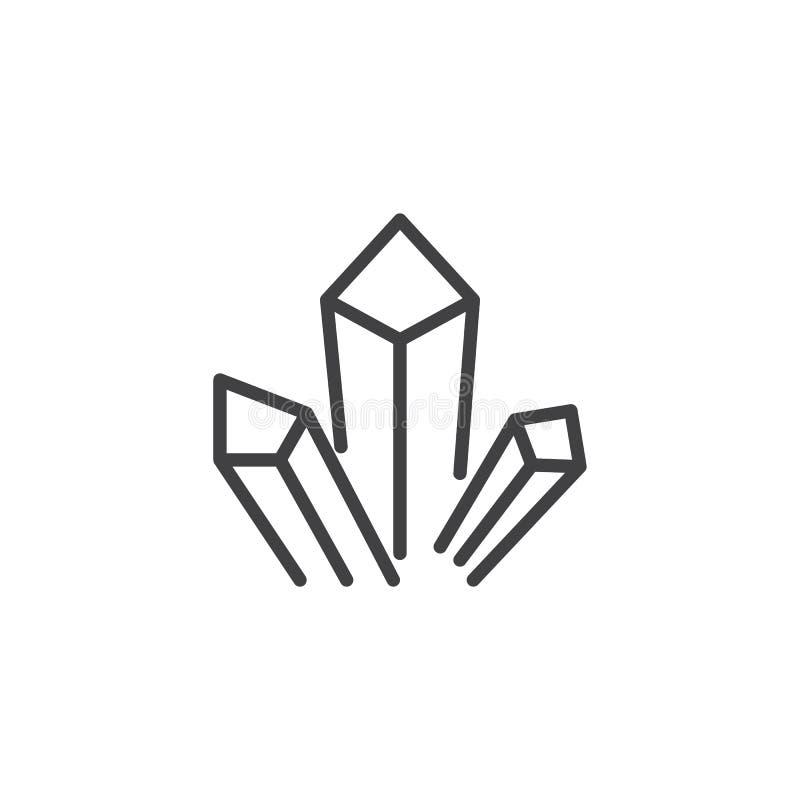 Leków kryształów konturu ikona ilustracji