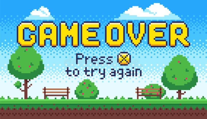 Lek över skärmen Retro 8 bitgallerilekar, det gamla PIXELvideospelslutet och PIXEL trycker på X för att försöka igen teckenvektor royaltyfri illustrationer