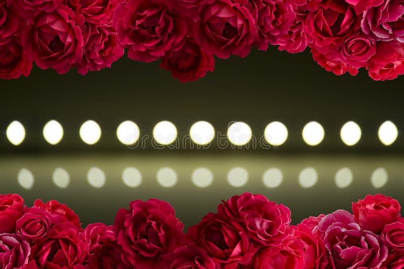 Lek av ljus på defocusing suddighet ledde lampor med busken av röda rosblommor royaltyfri bild
