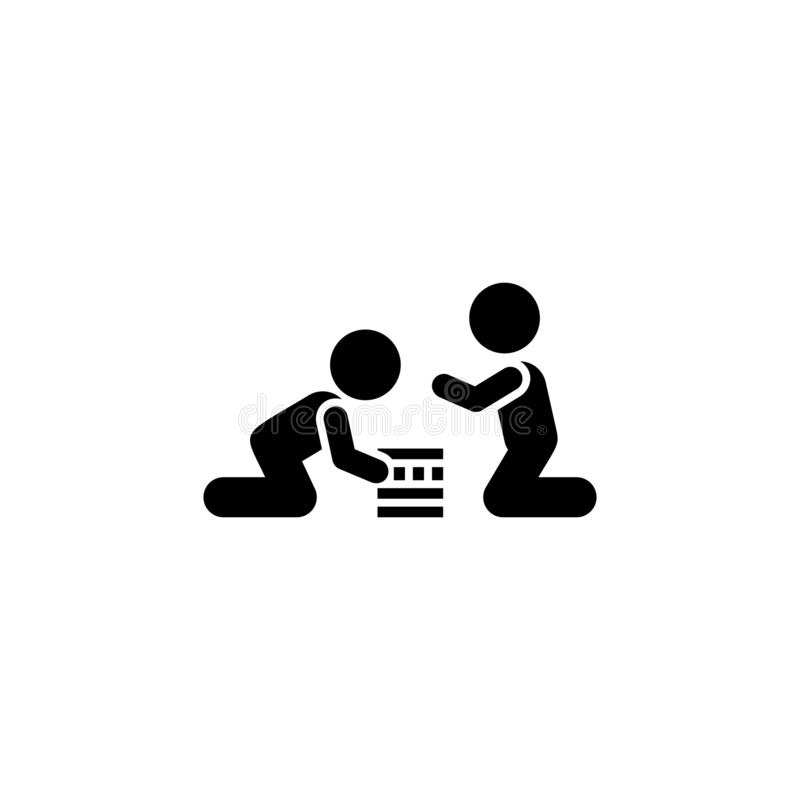 Lek barn, pojkar, leksakersymbol Beståndsdel av barnpictogramen H?gv?rdig kvalitets- symbol f?r grafisk design tecken och symbols stock illustrationer
