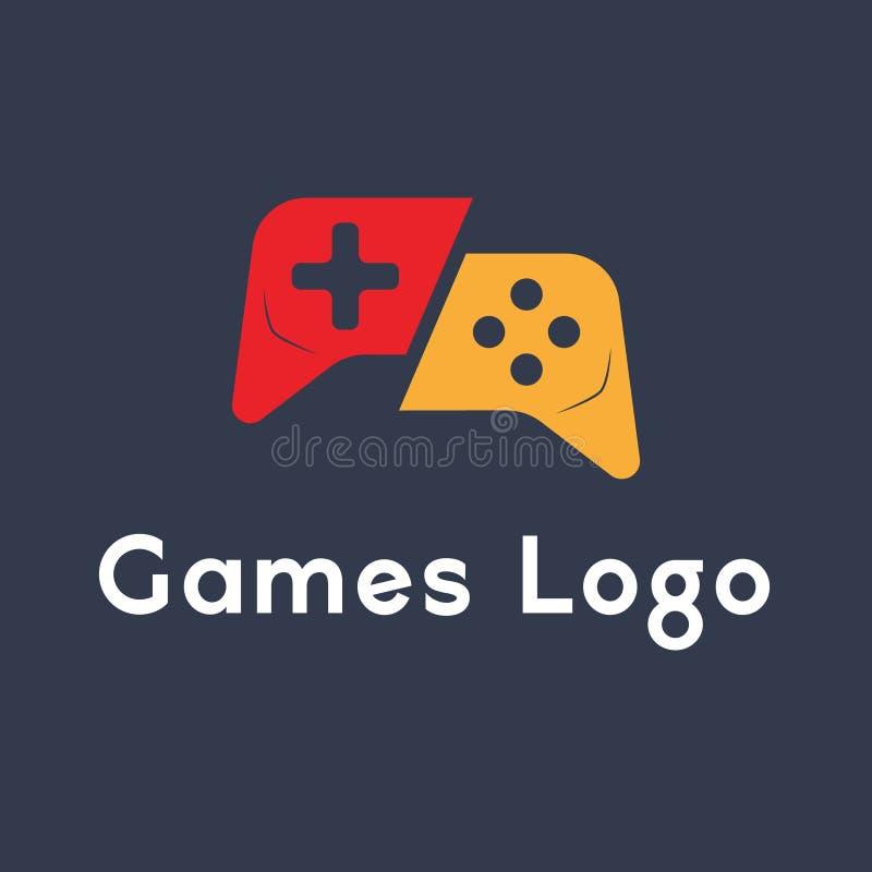 Lek-block kontrollant Games Logo Design Vector vektor illustrationer