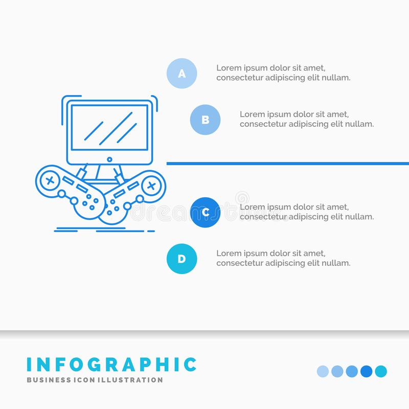 Lek, dobbel, internet, multiplayer online-Infographics mall f?r Website och presentation Linje infographic stil f?r bl? symbol royaltyfri illustrationer