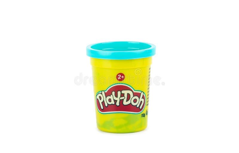Lek-Doh lera i en gul liten behållare med den blåa räkningen royaltyfri bild