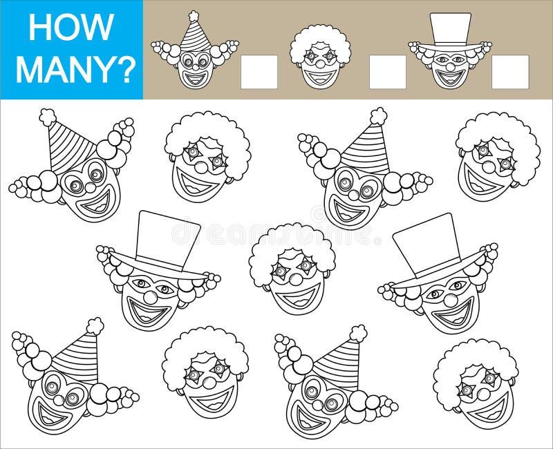 Lek för barn Färga framsidor av clowner och räkna hur många clow royaltyfri illustrationer