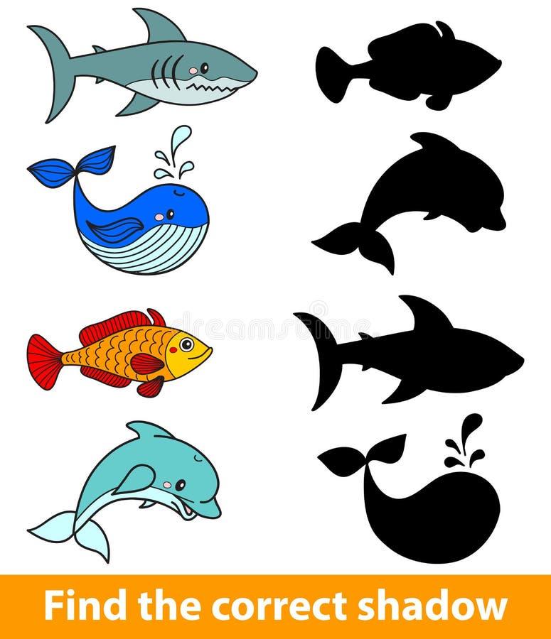 Lek för barn: finna den korrekta skuggan (haj, delfin, fisk, valet) royaltyfri illustrationer