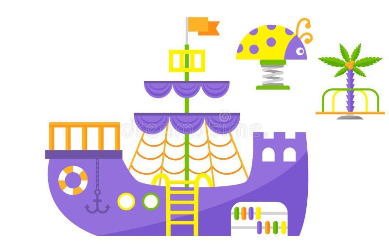 Lek för barndom för barnlekplatsen parkerar rolig vektorn för munterhet för dagiset för leksaken för utrustning för gunga för akt vektor illustrationer