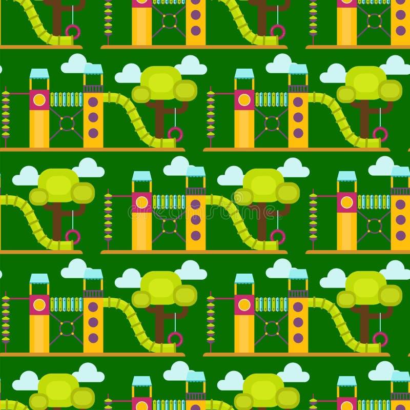 Lek för barndom för munterhet för barnlekplatsdagiset parkerar den sömlösa leksaken för utrustning för gunga för aktivitetsställe stock illustrationer