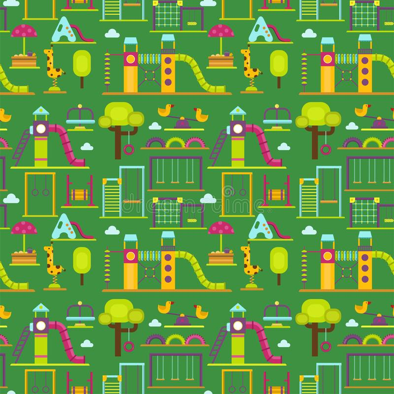 Lek för barndom för munterhet för barnlekplatsdagiset parkerar den sömlösa leksaken för utrustning för gunga för aktivitetsställe royaltyfri illustrationer