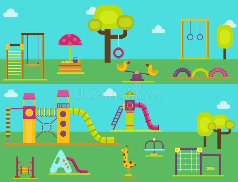 Lek för barndom för munterhet för barnlekplatsdagiset parkerar vektorn för leksaken för utrustning för gunga för aktivitetsställe stock illustrationer