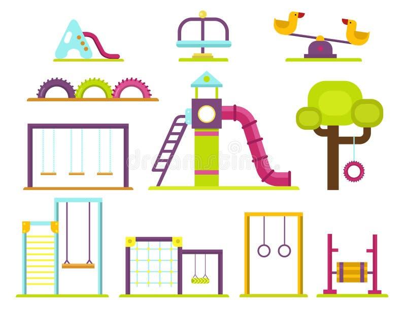 Lek för barndom för munterhet för barnlekplatsdagiset parkerar vektorn för leksaken för utrustning för gunga för aktivitetsställe royaltyfri illustrationer