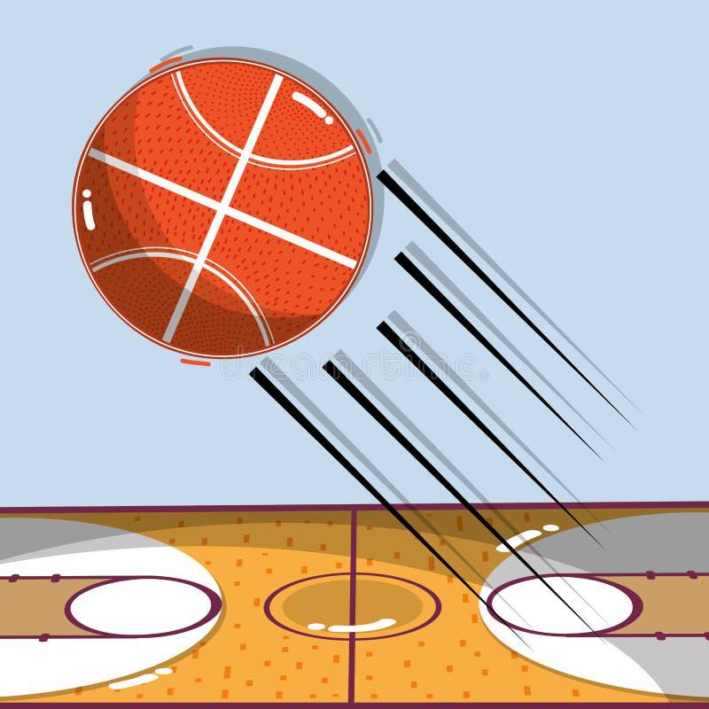 Lek för basketlek med bollen och fältet vektor illustrationer
