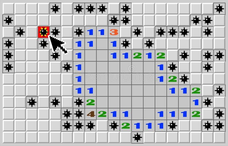 Lek för bit för minsveparedator 8, verklig position för slutet av en lek vektor illustrationer