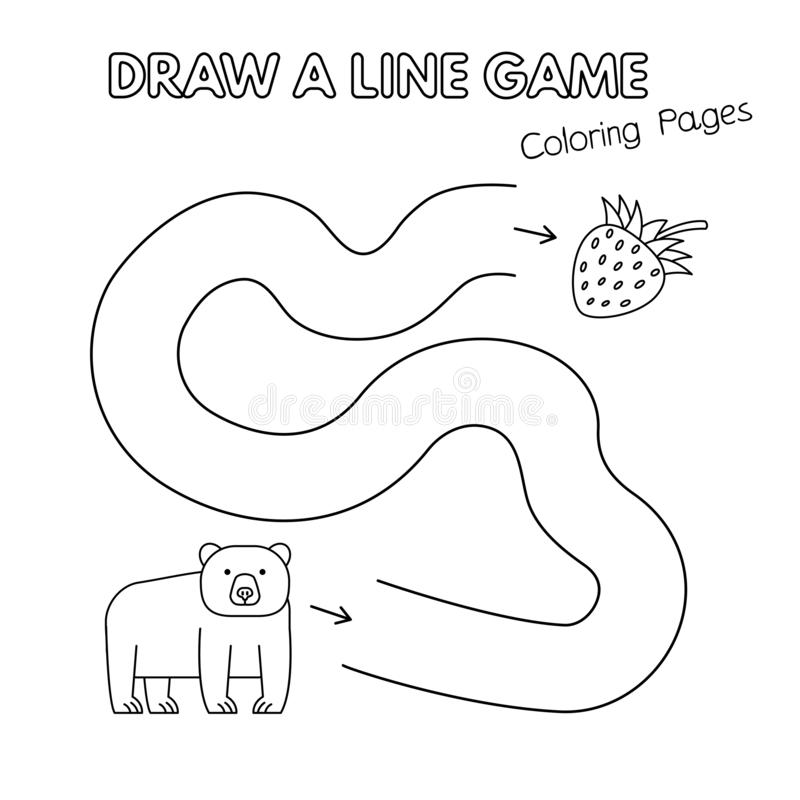 Lek för bok för tecknad filmbjörnfärgläggning för ungar vektor illustrationer