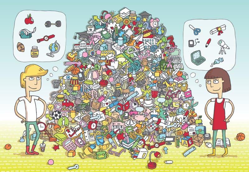 Lek för fyndobjektvisuellt hjälpmedel Lösning i gömt lager! stock illustrationer