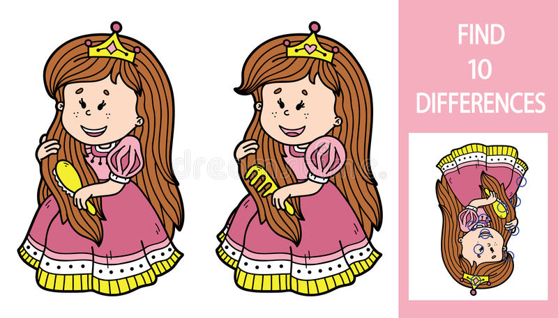 Lek för fyndskillnadprinsessa royaltyfri illustrationer