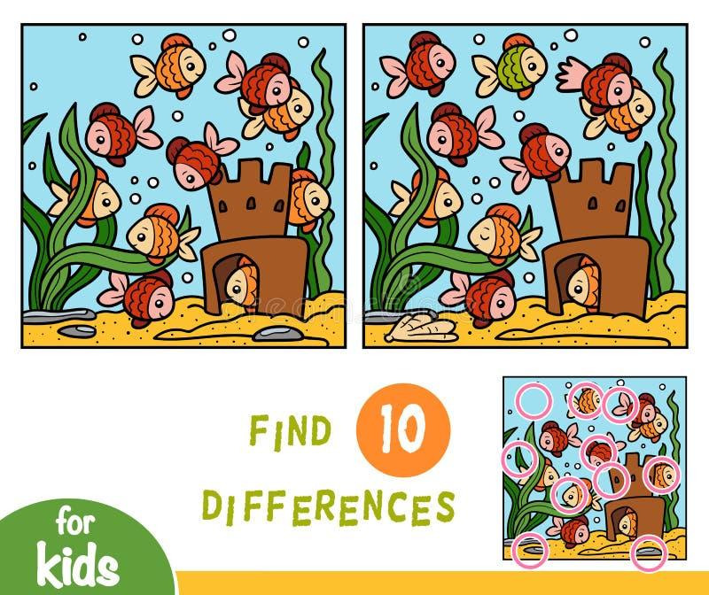 Lek för fyndskillnadutbildning, fisk tio royaltyfri illustrationer