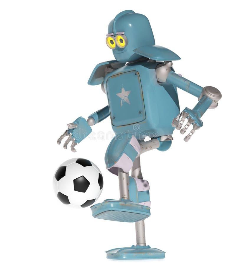 Lek för Grungetappningrobot i fotbollfotboll framförande 3d stock illustrationer