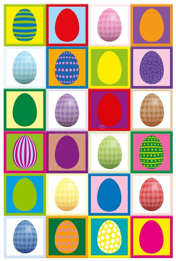 Lek för koncentration för par för påskägg stock illustrationer