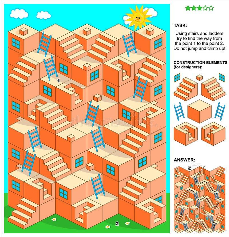 lek för labyrint 3d med trappa och stegar stock illustrationer