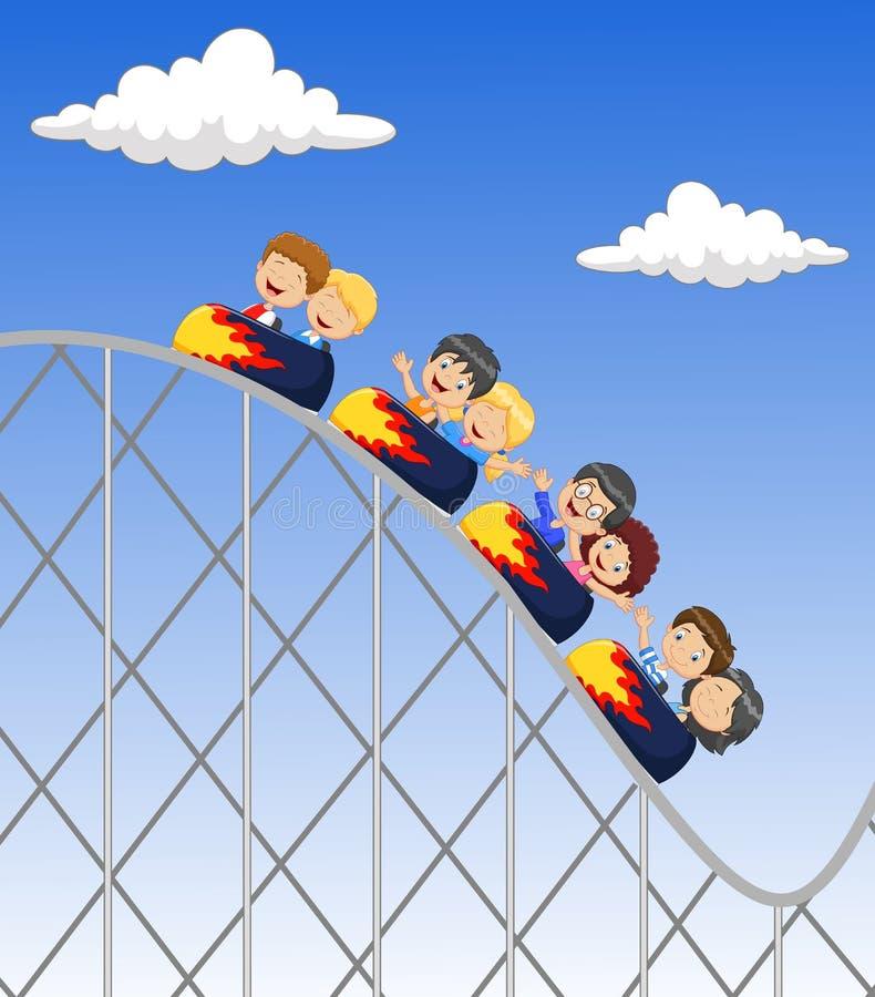 Lek för liten unge för tecknad film i rollercoaster royaltyfri illustrationer