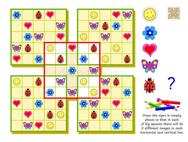 Lek för logikSudoku pussel för ungar Attraktion undertecknar i tomma ställen, så att i varje av stora fyrkanter det ska finnas 5  royaltyfri illustrationer
