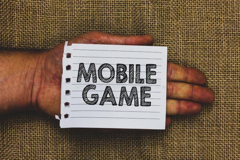 Lek för mobil för handskrifttexthandstil Begreppsbetydelsen är de underhållande program som göras för att arbeta på smart innehav arkivfoton