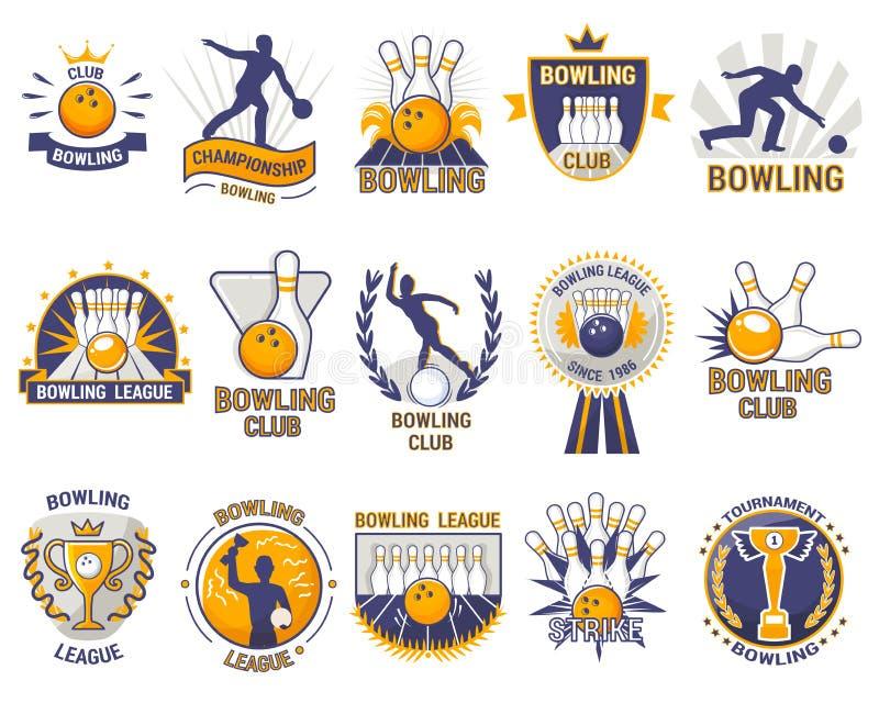 Lek för sport för kastare för bowlinglogovektor med gränd- eller bowlingklotkäglor och slag på turnering eller ligan i bunke vektor illustrationer