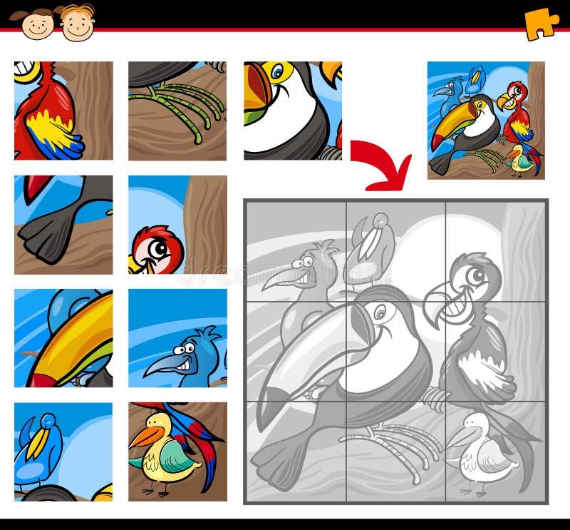 Lek för tecknad filmfågelpussel stock illustrationer
