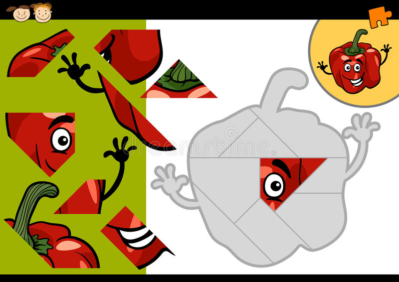 Lek för tecknad filmpepparpussel royaltyfri illustrationer