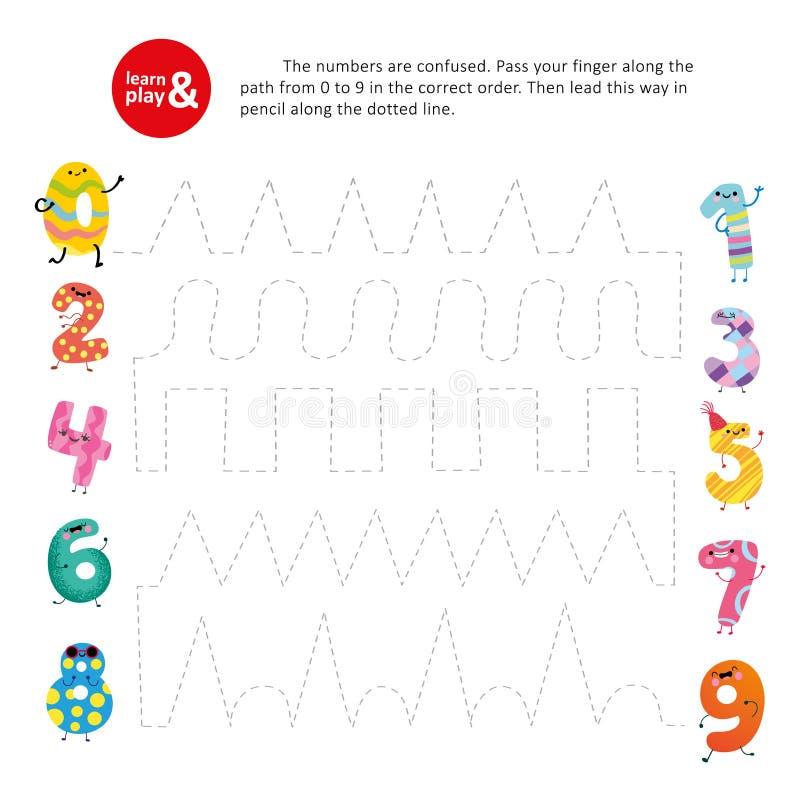 Lek för unge för nummer för beställning för passerandefingerbana korrekt royaltyfri illustrationer