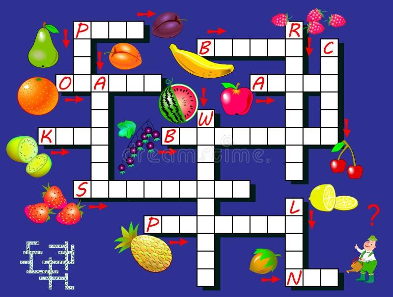 Lek f?r korsordpussel med frukter Bildande sida för barn för språk och ord för studie engelskt vektor illustrationer