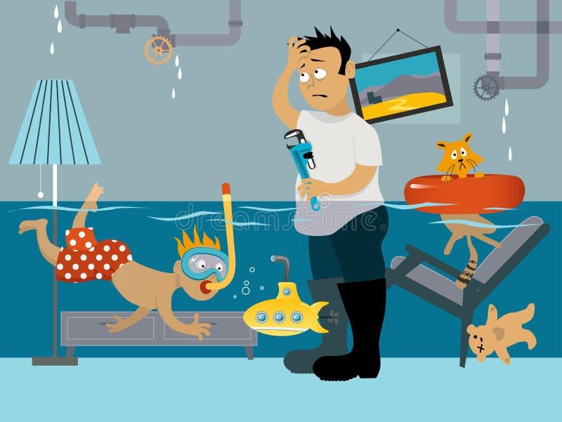 Lek loodgieterswerk vector illustratie