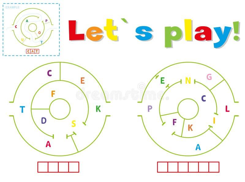 Lek och att skriva orden uppgift och blyertspenna stock illustrationer