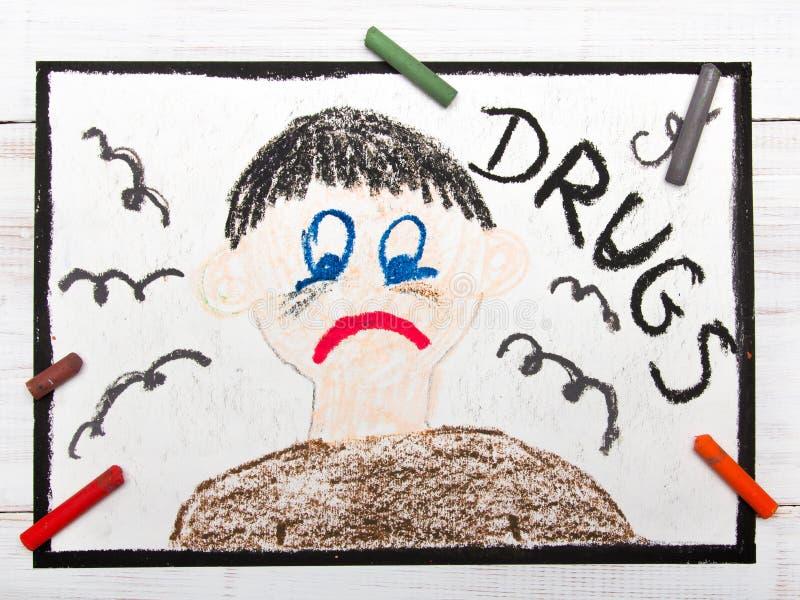 Lek uzależniona osoba Smutny I Przygnębiony mężczyzna obrazy royalty free