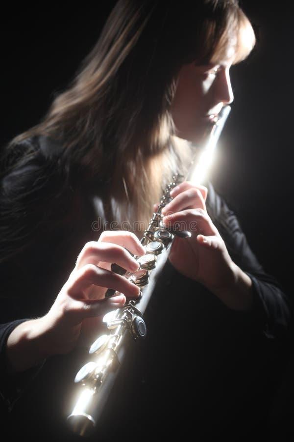 leka för aktör för flöjtflutistmusiker royaltyfri foto
