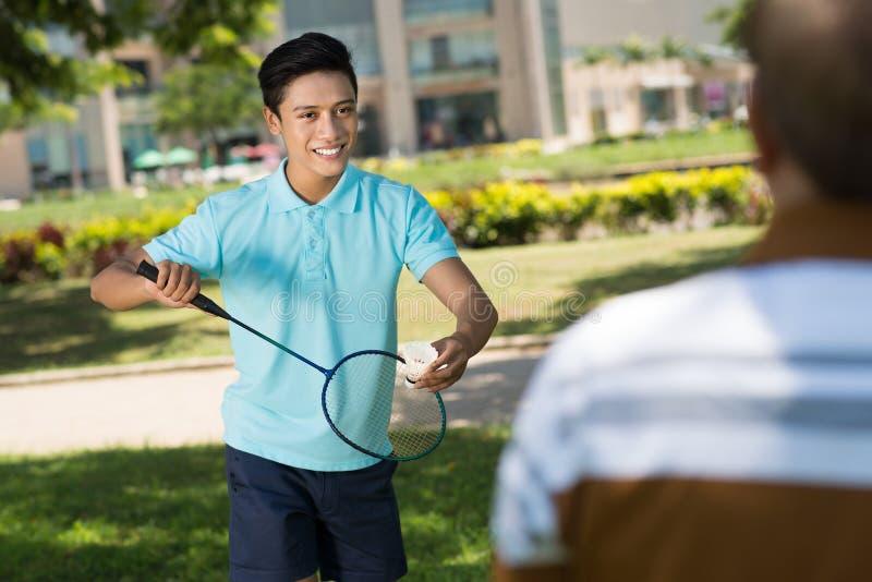 leka för badminton royaltyfri foto