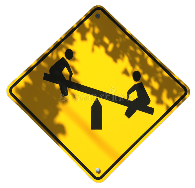 Download Leka för barn arkivfoto. Bild av yellow, park, metall, seesaw - 240294