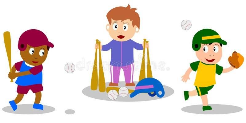 leka för baseballungar royaltyfri illustrationer