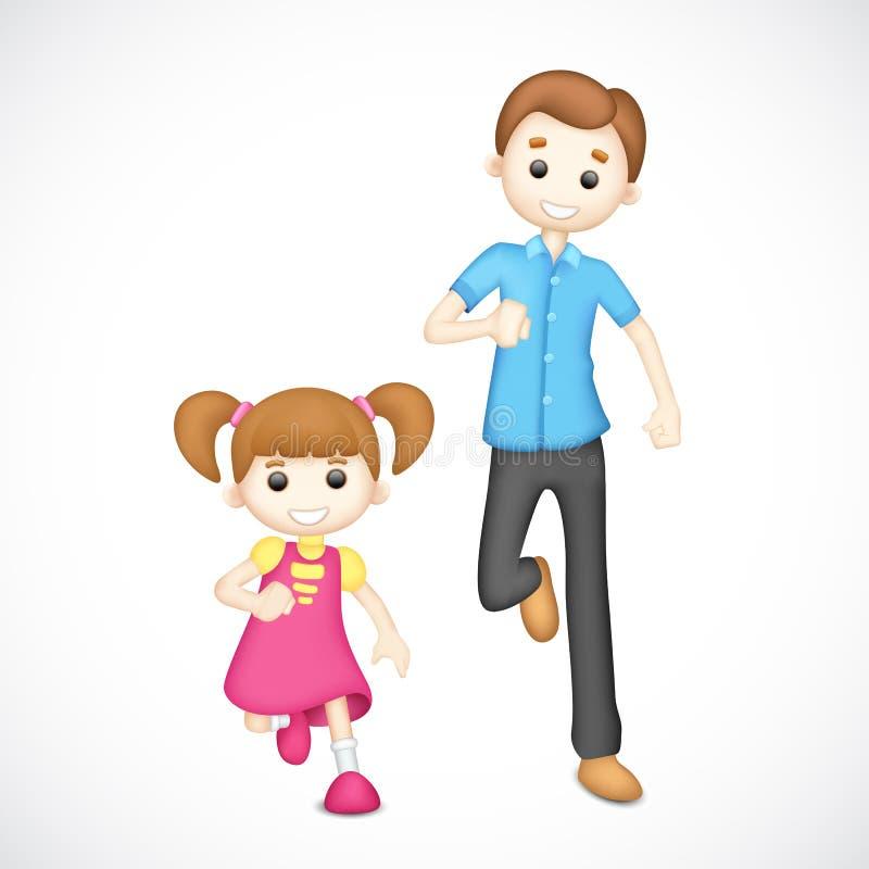 leka för dotterfader royaltyfri illustrationer